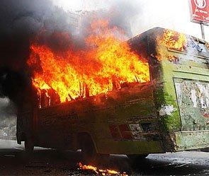 У Курского вокзала cгорел автобус